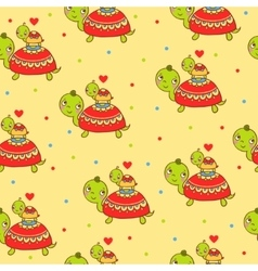 Seamless kids pattern with turtles vector image