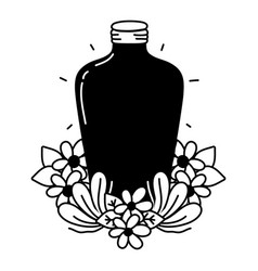 Silhouette long mason jar with flowers and leaves vector