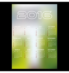 2016 simple business blur background wall calendar vector image