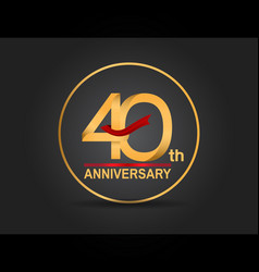 40 anniversary design golden color with ring vector