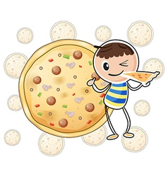 a boy with a slice pizza vector image