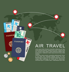 air travel concept world map airline tickets and vector image