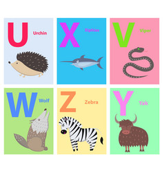 alphabet letters u x v w z y set with animal vector image