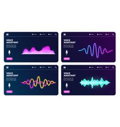 Audio assistant landing page voice vector
