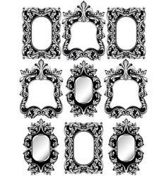 baroque frames set decor detailed rich ornamented vector image