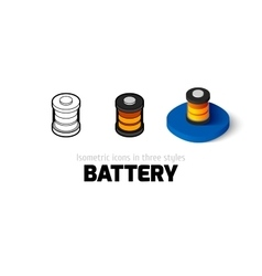Battery icon in different style vector image