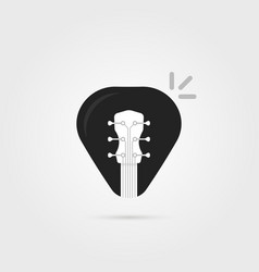 Black simple guitar pick icon vector