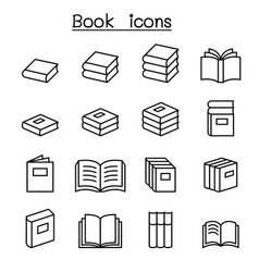 book education icon set in thin line style vector image