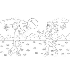 boy and girl play ball in park vector image