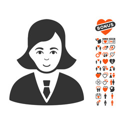 Business lady icon with dating bonus vector