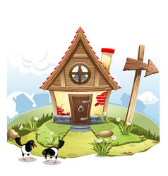Cartoon fairy house on a green hill with arrow vector