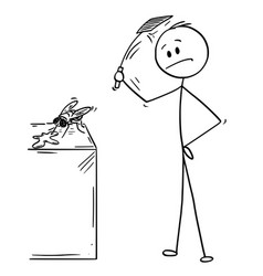 Cartoon man hitting and killing a fly vector