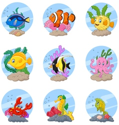Cartoon sea life collection set vector