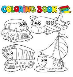 coloring book with various vehicles vector image