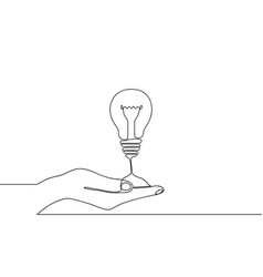 Continuous one line drawing hand and light bulb vector
