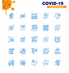 Coronavirus prevention set icons 25 blue icon vector