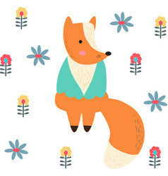 cute card with hand drawn fox vector image
