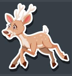 Cute dear character sticker vector