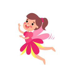 cute happy pink fairy with wings flying cartoon vector image