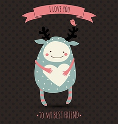 cute romantic cartoon card with funny monster vector image