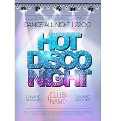 Disco background hot night poster vector