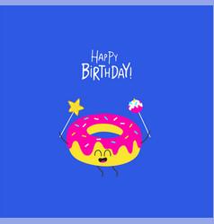 donut birthday card cute funny donut vector image