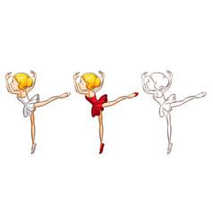 Doodle character for ballerina vector