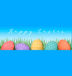 Easter colorful eggs in row blue sky background vector