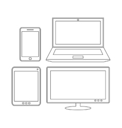 Electronic devices Laptop tablet smartphone and vector image