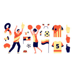 Fans accessories isolated flags soccer fan tools vector