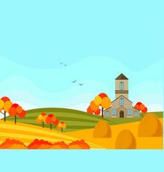 farm village autumn season with hay background vector image