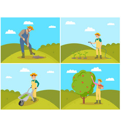 Farmer with basket and apples vector