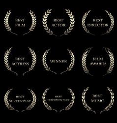 Film Awards award wreaths on black background vector image