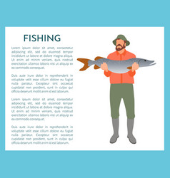 Fisherman with fish in hands vector