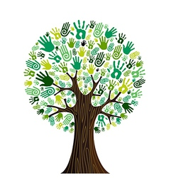 Go green hands collaborative tree vector image