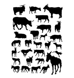 goat cow donkey animal detail silhouettes vector image