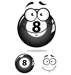 Gray eight pool ball character vector