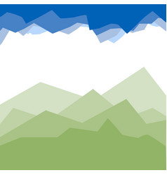 green mountains in the fog vector image