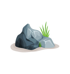 Grey rock stone with grass design element of vector