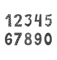 Hand drawn numbers in scandinavian boho style vector