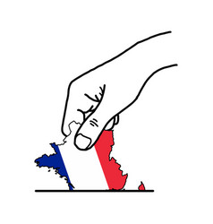 Hand voting with franch map with color flag color vector