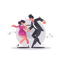 happy couple guy and girl dancing vector image