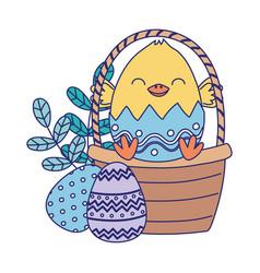 Happy easter day chicken in eggshell basket eggs vector