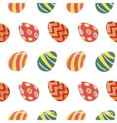 Happy Easter Seamless Pattern with Colorful Eggs vector image