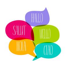 hello colorful doodle speech bubbles vector image