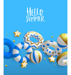 hello summer card 3d gold lifesavers and balls vector image