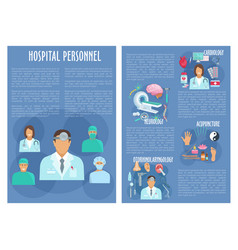 Hospital personnel doctors posters vector