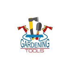 Icon of gardening tools for gardener shop vector
