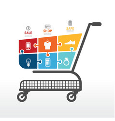 infographic Template with Shopping cart vector image