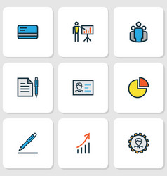 job icons colored line set with identification vector image
